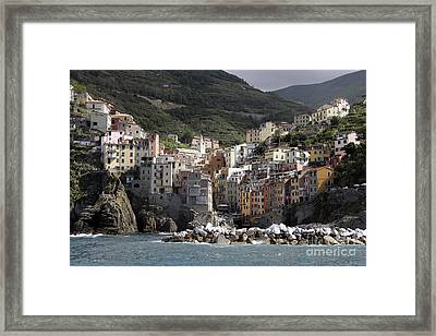 Cinqueterre From The Sea Framed Print