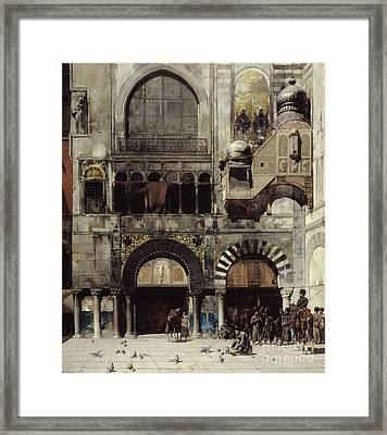 Circassian Cavalry Awaiting Their Commanding Officer At The Door Of A Byzantine Monument Framed Print by Alberto Pasini