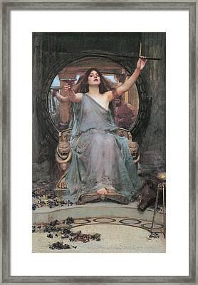 Circe Offering The Cup To Odysseus Framed Print by John William Waterhouse