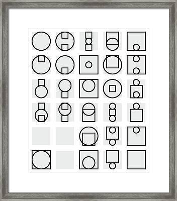 Circle And Square Alphabet - 24 Framed Print