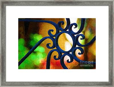 Circle Design On Iron Gate Framed Print by Donna Bentley