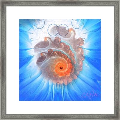 Circle Fire Blue Framed Print