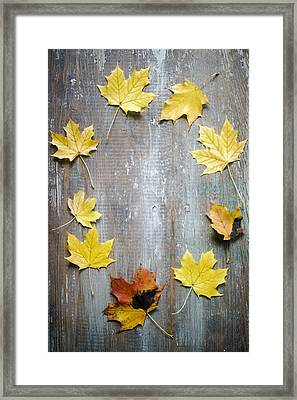 Circle Of Autumn Leaves On Weathered Wood Framed Print