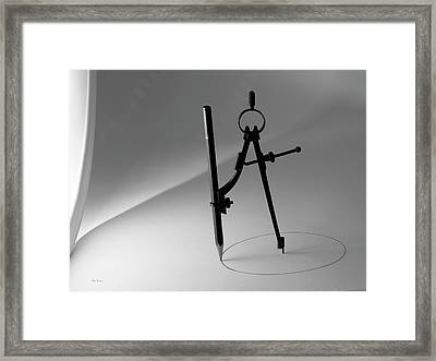 Circle Pencil And Compass Framed Print