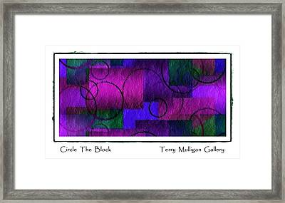 Circle The Block In Purple And Blue Framed Print by Terry Mulligan