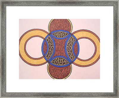 Framed Print featuring the drawing Circles In Ink by Beth Akerman