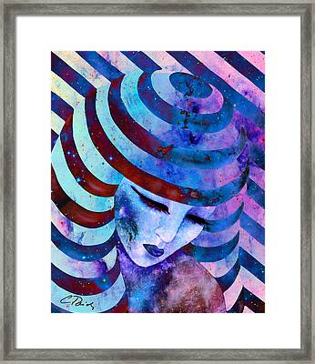 Circles Stripes And Galaxies Blue Framed Print