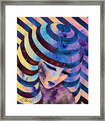 Circles Stripes And Galaxies Orange Framed Print