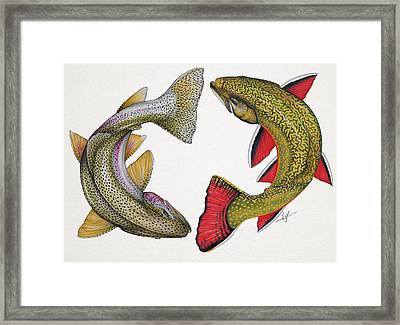 Circling Rainbow And Brook Trout Framed Print