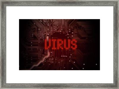 Circuit Board Virus Text Framed Print by Allan Swart
