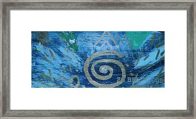 Circular Gold On Blue Framed Print by Anne-Elizabeth Whiteway