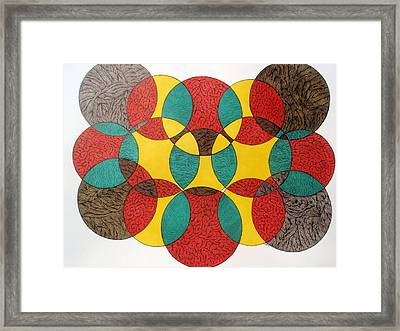 Framed Print featuring the drawing Circular Ink Drawing by Beth Akerman