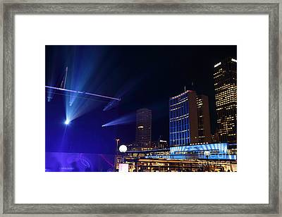 Circular Quay Sydney Comes Alive For Vivid Sydney Framed Print by Leah-Anne Thompson