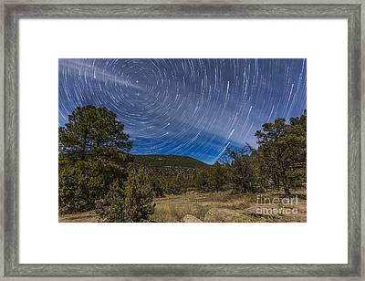 Circumpolar Star Trails Over The Gila Framed Print by Alan Dyer