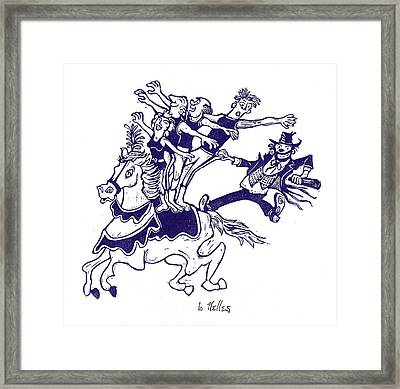Circus Acrobats On Horse With Clown Framed Print by Barry Nelles Art