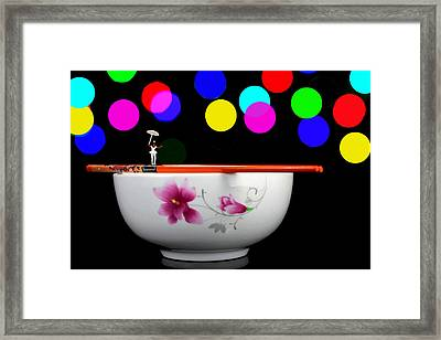 Circus Balance Game On Chopsticks Framed Print by Paul Ge
