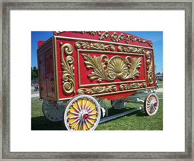 Circus Car In Red And Gold Framed Print by Anita Burgermeister
