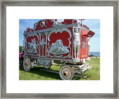 Circus Car In Red And Silver Framed Print by Anita Burgermeister