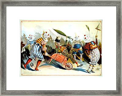 Circus Clowns - Vintage Circus Advertising Poster Framed Print