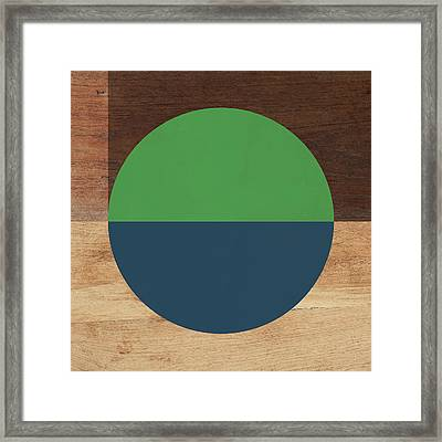Cirkel Blue And Green- Art By Linda Woods Framed Print by Linda Woods