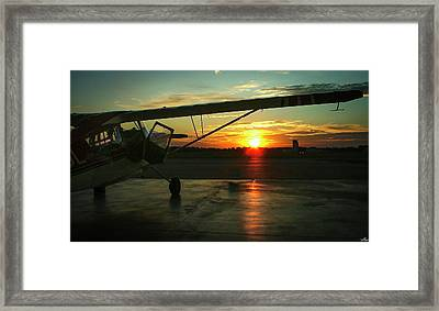 Citabria Peeking Out Of The Hangar Door Framed Print