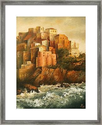 Cinque Terre Lerici Italia Painting Framed Print