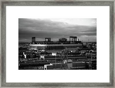 Citi Field - New York Mets Bw Framed Print by Frank Romeo