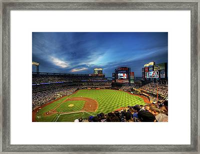 Citi Field Twilight Framed Print by Shawn Everhart