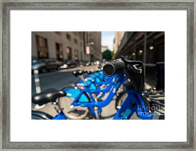Citibike Handle Manhattan Color Framed Print