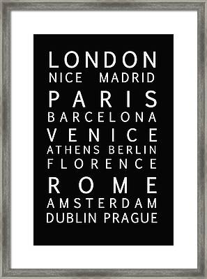 Cities Of Europe Framed Print by Georgia Fowler