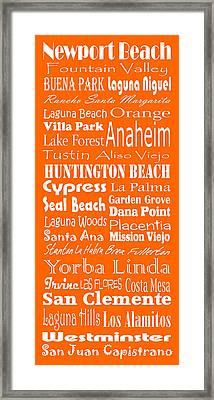 Cities Of Orange County Framed Print