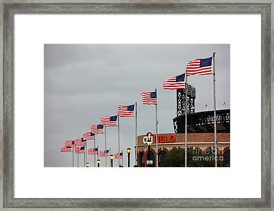 Citifield And American Flags Framed Print by Nishanth Gopinathan