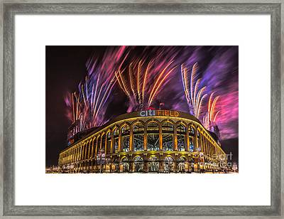Citifield Fireworks Framed Print by Jerry Fornarotto