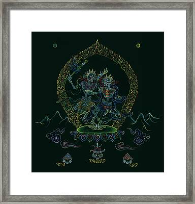 Citipati -the Lord And Lady Of The Charnel Grounds Framed Print by Carmen Mensink