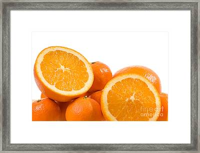 Citrus Fruits Mandarine And Orange On White  Framed Print by Arletta Cwalina