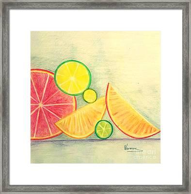 Citrus Fruits Framed Print by Nermine Hanna
