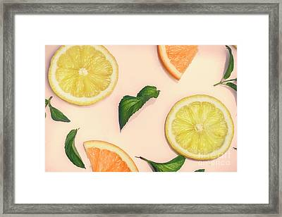 Citrus Pattern On Retro Pink Background Framed Print