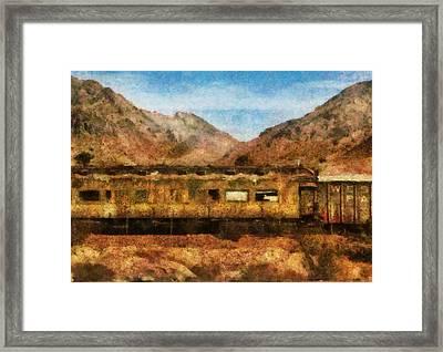 City - Arizona - Desert Train Framed Print by Mike Savad