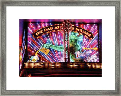 City - Vegas - Ny - The Bar At Times Square Framed Print by Mike Savad