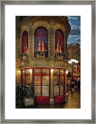 City - Vegas - Paris - Le Cafe Framed Print by Mike Savad