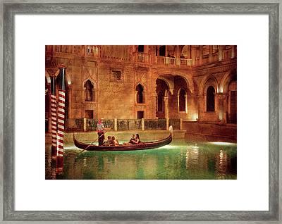 City - Vegas - Venetian - The Gondola's Of Venice Framed Print by Mike Savad