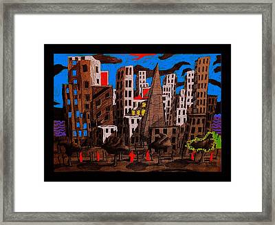 City - Abstraction Framed Print by Chris Boone