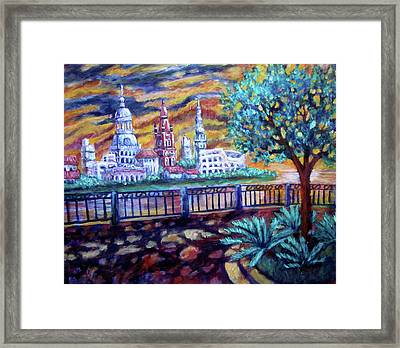 City Across The River Framed Print