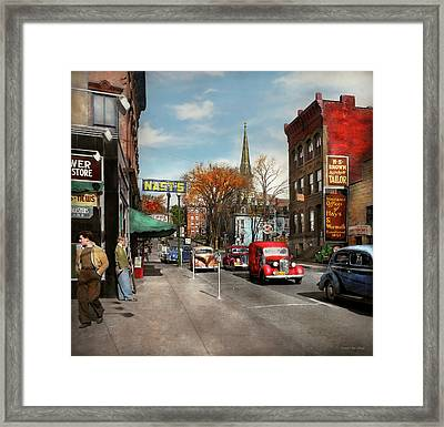 City - Amsterdam Ny - Downtown Amsterdam 1941 Framed Print by Mike Savad