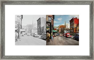 City - Amsterdam Ny - Downtown Amsterdam 1941- Side By Side Framed Print by Mike Savad