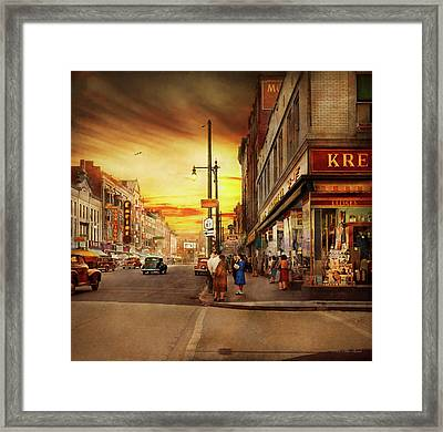 Framed Print featuring the photograph City - Amsterdam Ny - The Lost City 1941 by Mike Savad