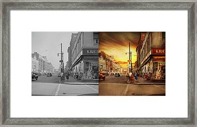 Framed Print featuring the photograph City - Amsterdam Ny - The Lost City 1941 - Side By Side by Mike Savad