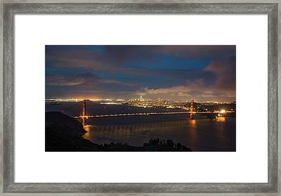 Framed Print featuring the photograph City And The Bridge by Stephen Holst