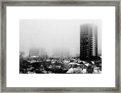 City Apartments Village Homes In Fog Framed Print