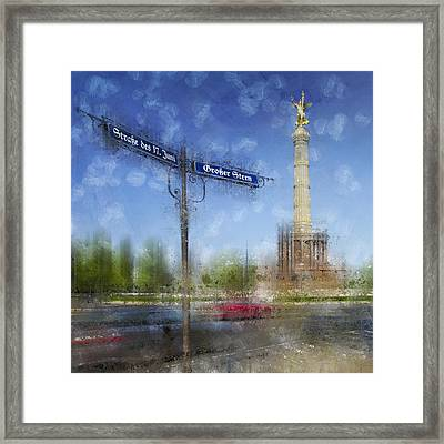 City-art Berlin Victory Column Framed Print by Melanie Viola